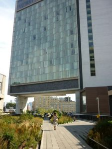 The Standard Hotel straddles the High Line Park.