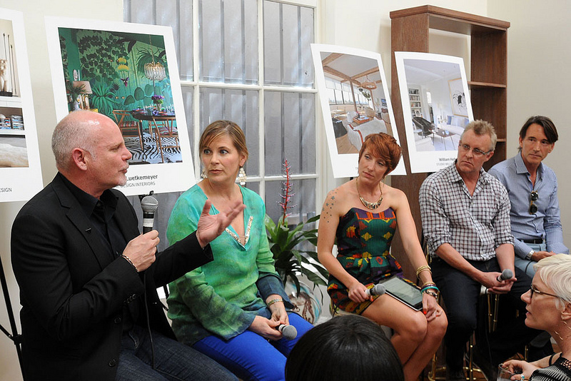Editor in Chief of California Home+Design Erin Feher sits with a designer panel at Galerie XX during LEGENDS 2012