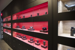Black and red shelving