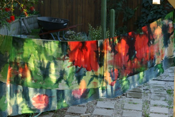 Parry Dodge's home studio, with hand-dyed fabric inspired by her backyard flora