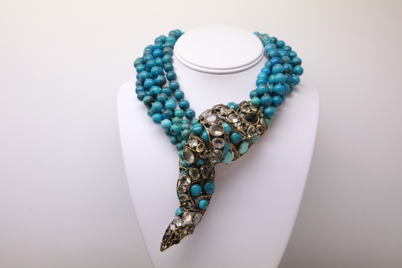 Courtesy of Domont Jewelry, Los Angeles, CA_Snake Necklace Turquoise, Crystal and Citrine Gilt mounted