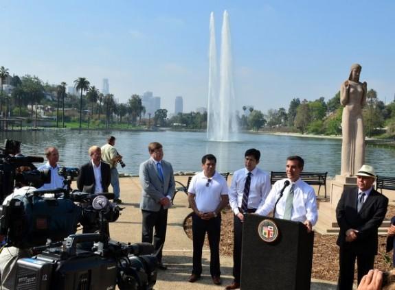 Eric Garcetti announced Echo Park Lake reopens June 15 5-9-2013 9-23-56 PM