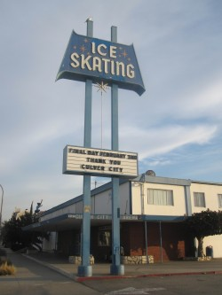 CC Ice Rink sign from below