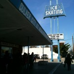 Ice rink sign from below