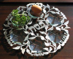 Laser Cut Stainless Steel Floral Seder Plate by Melanie Dankowicz 1