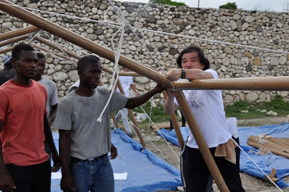 Paper emergency shelter for Haiti, by Shigeru Ban