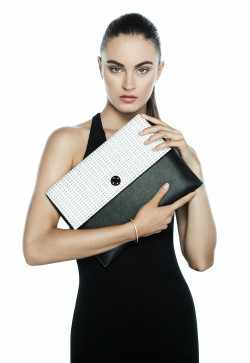 Black, white clutch