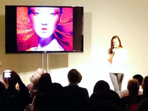 Chen Man addresses the audience at L.A. Louver Gallery