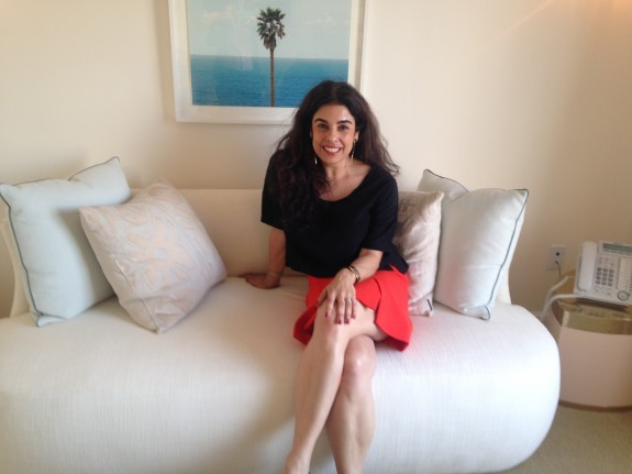 Natasha Baradaran sits in a comfy corner of her office in Los Angeles