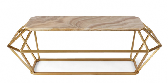 """Baguette"" coffee table, matte gold finish and butterscotch onyx; a piece from Natasha Baradaran's furniture line."