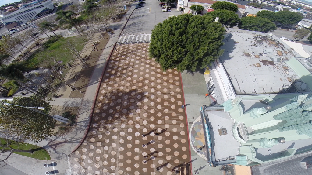 A shot from the drone shows the polka-dotted plaza.