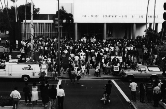 Protesters outside Parker Center during 1992 Los Angeles Riots. Courtesy of Los Angeles Public Library Photo Archive.