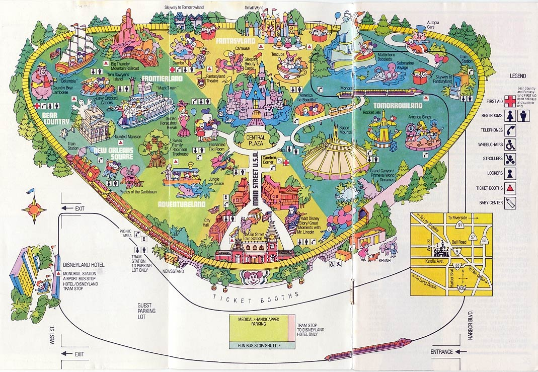 picture relating to Printable Disneyland Maps known as Disneylands Evolution Throughout Maps KCRW