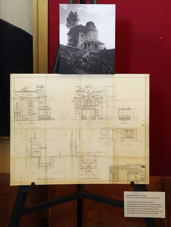 Original props from the film were on display at the theater. Floorplan of the house next to the Bates Motel.