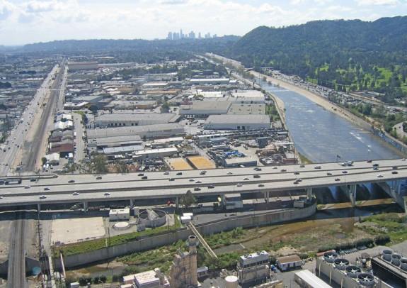 Concrete defines the LA's River at Verdugo Wash, a site considered for restoration in the City of LA ARBOR; image courtesy City of LA