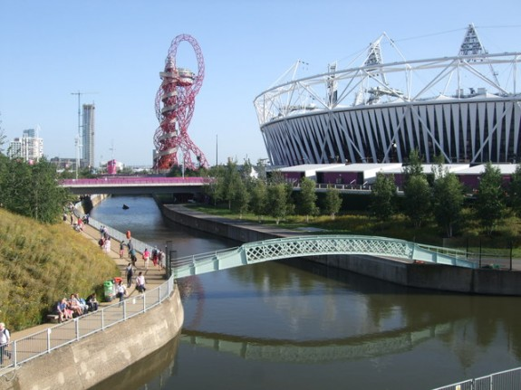 Olympic Park at the River Lee in London combined longterm social and ecological improvement with the Olympics. Image © Copyright Paul Gillett and licensed for reuse under this Creative Commons Licence