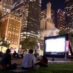 Ambulante screening in downtown LA, 2014; photo by Priscilla Rodriguez