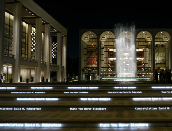 Digital lighting display is one element of DS+R's makeover of Lincoln Center, New York City; photo courtesy DS+R.