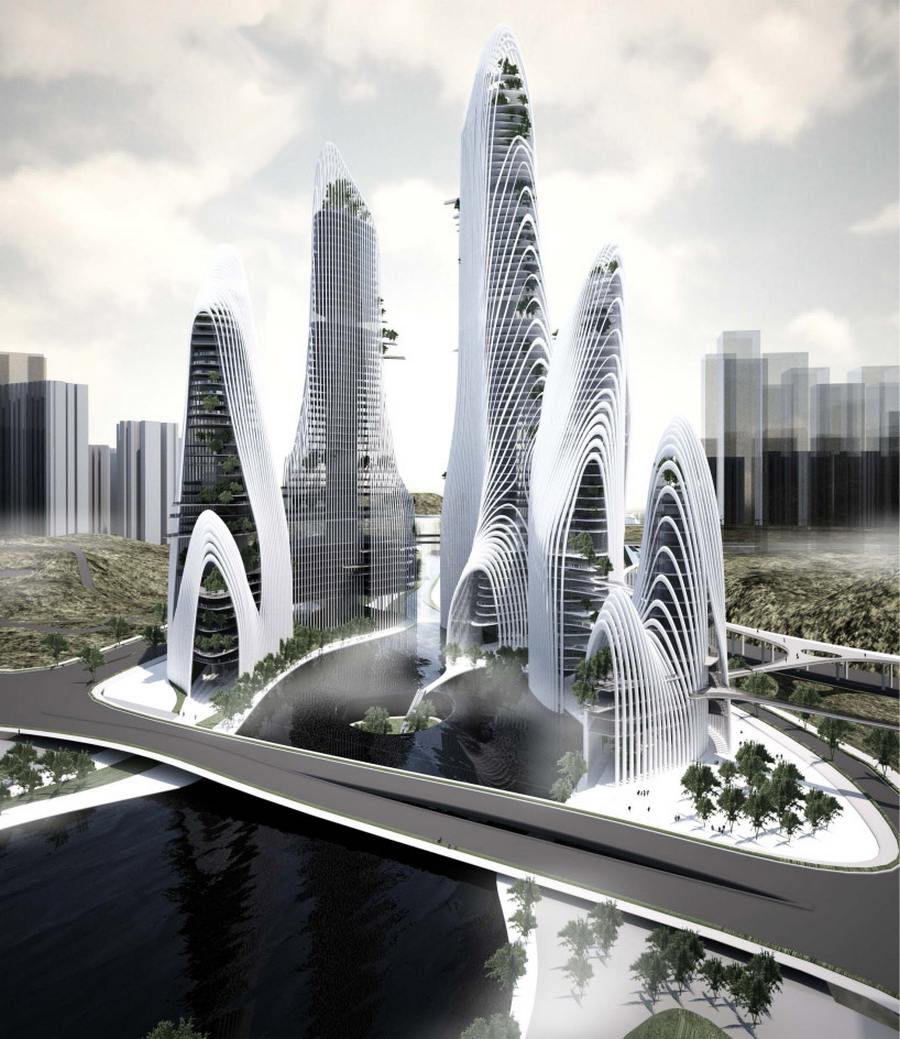 A rendering of Shanshui City, as imagined by MAD Architects