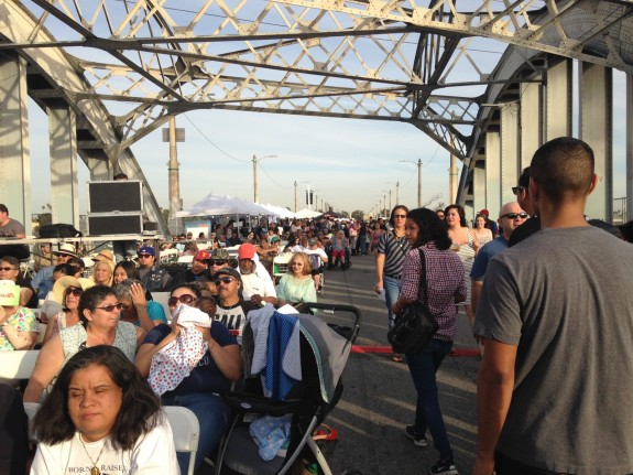 Crowds gather for performances, art shows, food trucks and more, on the 6th Street Bridge; photo: Frances Anderton