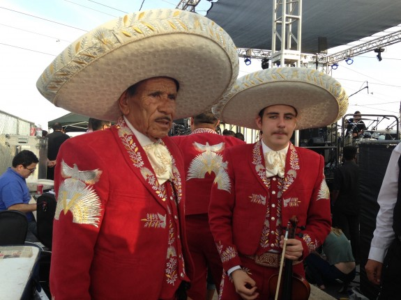 A band from Councilman Huizar's home town in Mexico waits to go on stage; photo: Frances Anderton