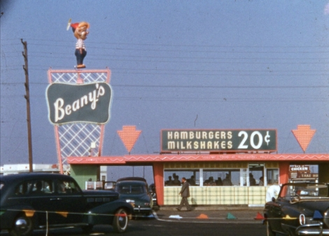 """Beany's Drive-In Restaurant in Long Beach, from """"Lost Landscapes of Los Angeles"""""""