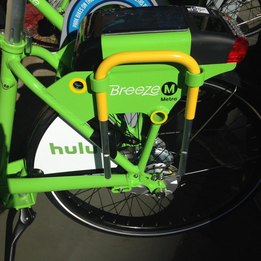 The locking system for the Breeze Bikes. Photo by Frances Anderton.