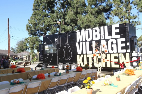 Mobile kitchen before lunch and ribbon cutting