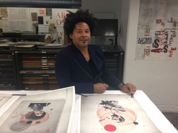 Tyrone Drake sits in the type studio at Art Center College of Design; photo: Avishay Artsy