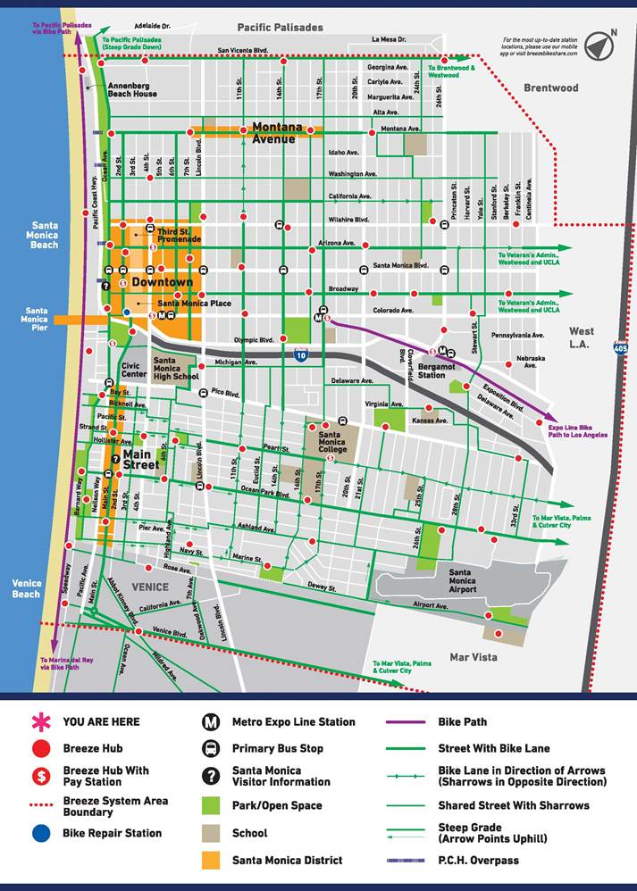 A map of the Breeze Bike Share system. Courtesy of CycleHop and the city of Santa Monica.