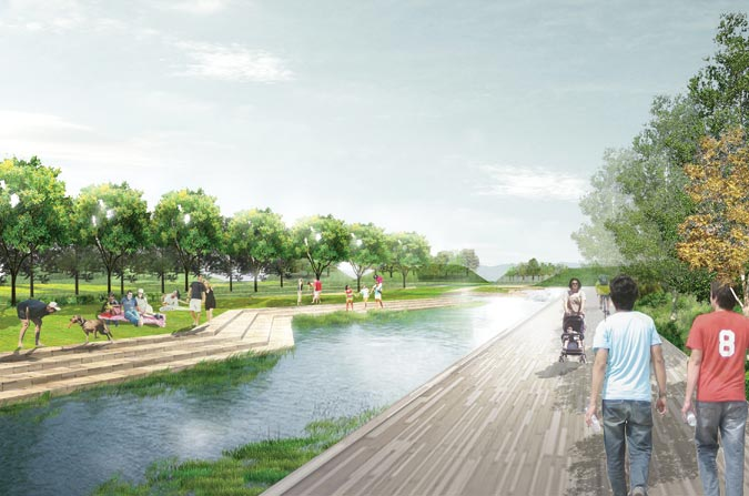 A masterplan envisions a vibrant Piggyback Yards and a revitalized LA River. Courtesy Perkins + Will.