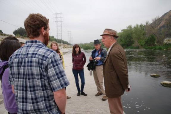 Louis MacAdams, right, sharing his passion for the LA River; photo by William Preston Bowling
