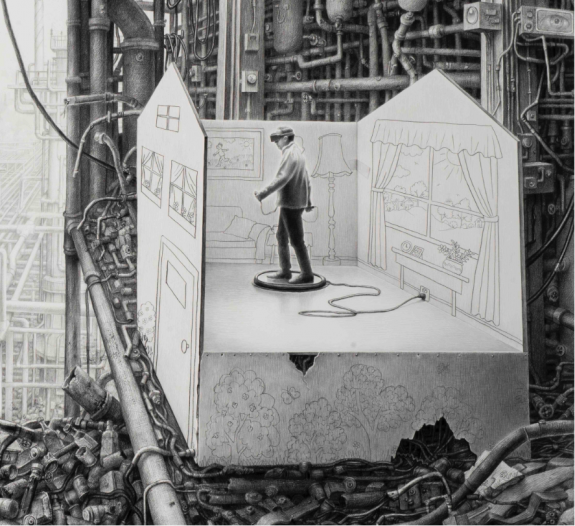 """Virtual Reality, detail 2015"", charcoal & pencil on paper, 113x165 cm / 44.5""x65"" AVAILABLE (please contact for price)"