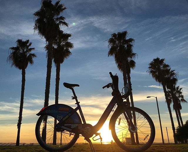 A New York Citi Bike enjoys a California sunset; photo courtesy Jeffrey Tanenhaus.