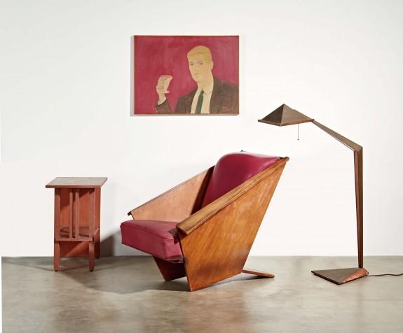 Furniture with painting by Alex Katz, LAMA-Frank-Lloyd-Wright-Alex-Katz-February2016