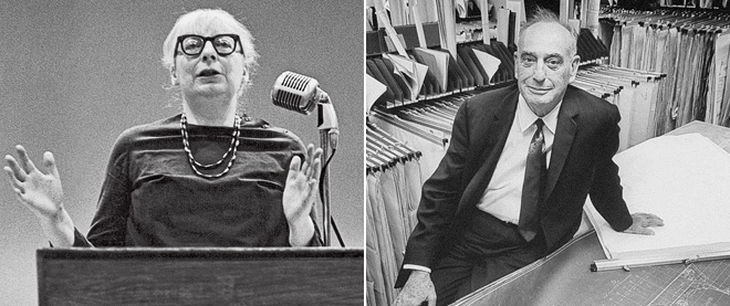 Jane Jacobs, left, and Robert Moses