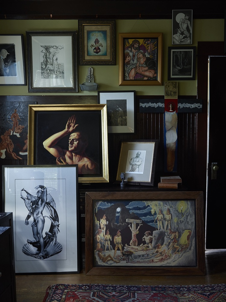 A collection of paintings on display at TOM House.