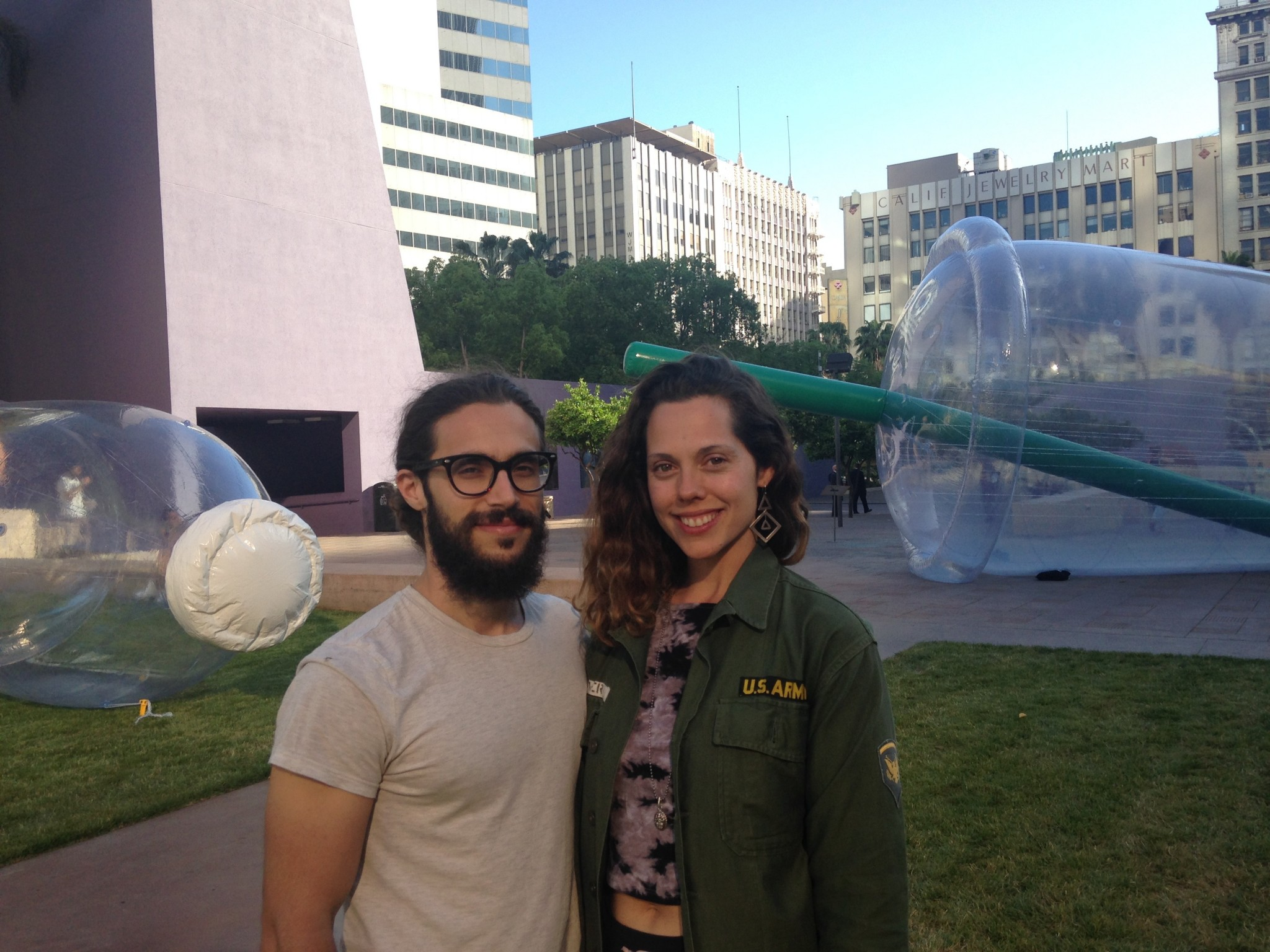 The goal of artists Matthew LaPenta and Jana Cruder is to change how people think about plastic, and influence consumer behavior. (Avishay Artsy)