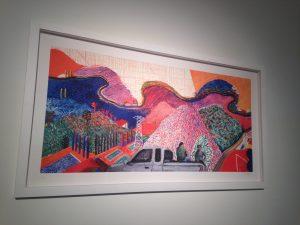 """Mulholland Drive: On The Road to David's Studio (after David Hockney's Mulholland Drive: The Road to the Studio, 1980) ,"" Ramiro Gomez, 2015."