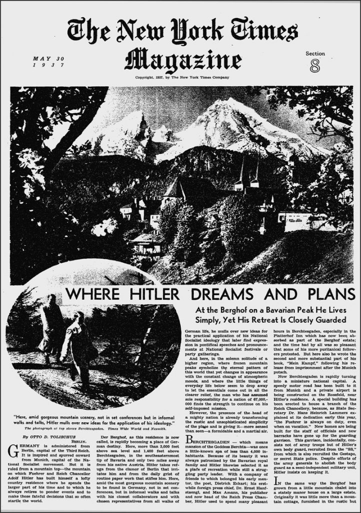 Cover of the May 30, 1937 New York Times Magazine. [New York Times]