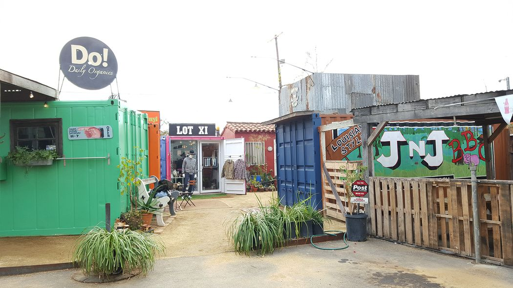 A creative shipping container shopping area in rising West Adams district