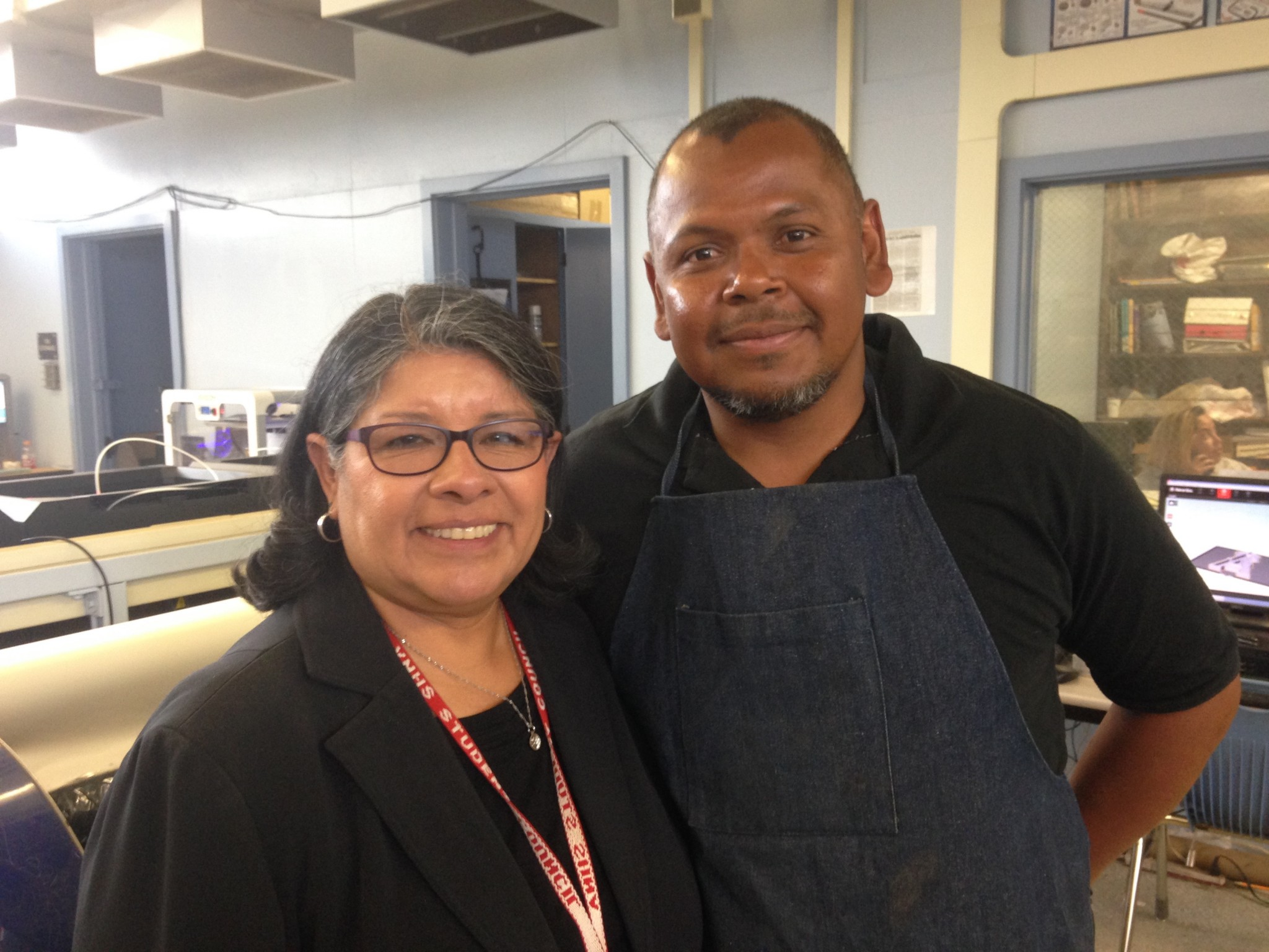 Van Nuys High School Principal Yolanda Gardea and Jose Castro, the school's machine class instructor. Photo by Avishay Artsy.