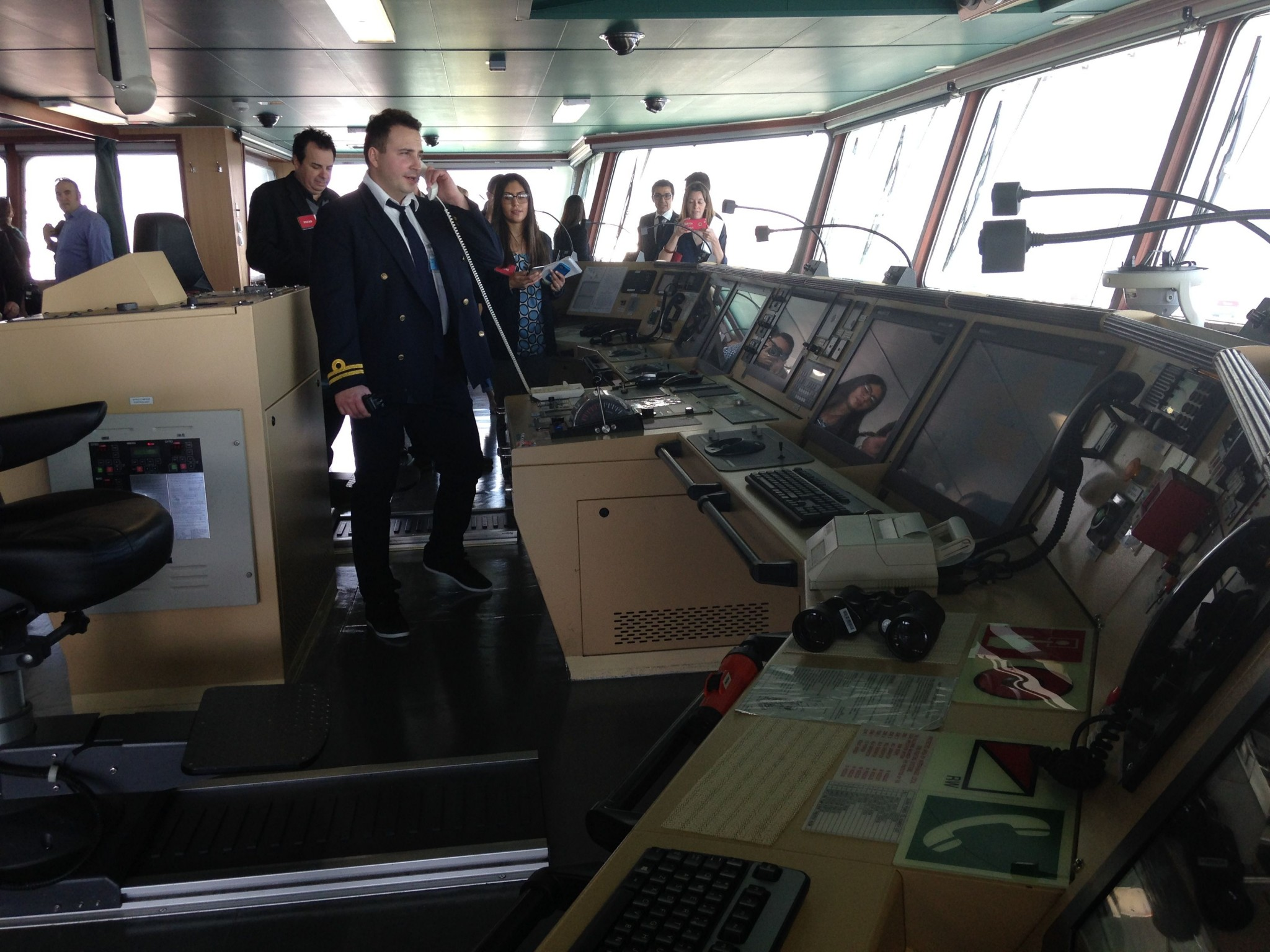A tour of the deck of the CMA CGM Benjamin Franklin. Photo by Frances Anderton.