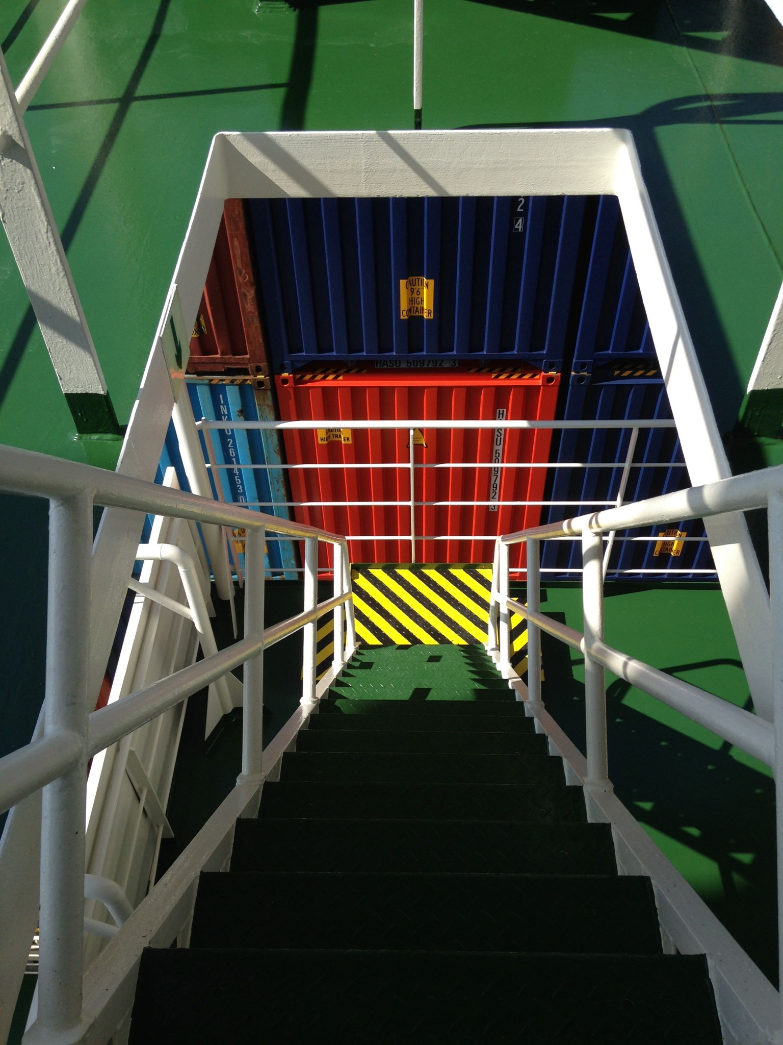 Descending the stairs of the ship.