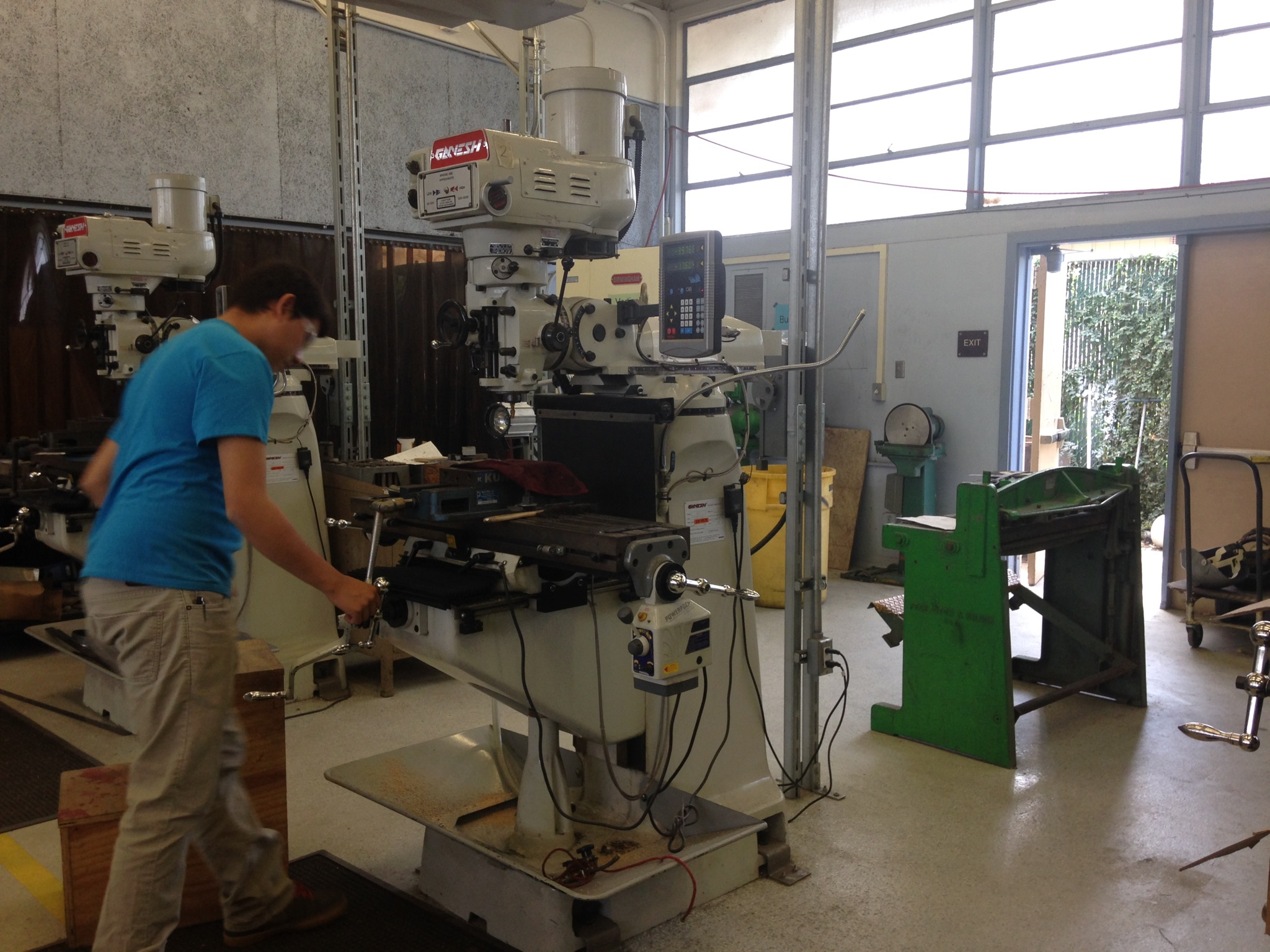 A student at work in the machine class. Photo by Frances Anderton.