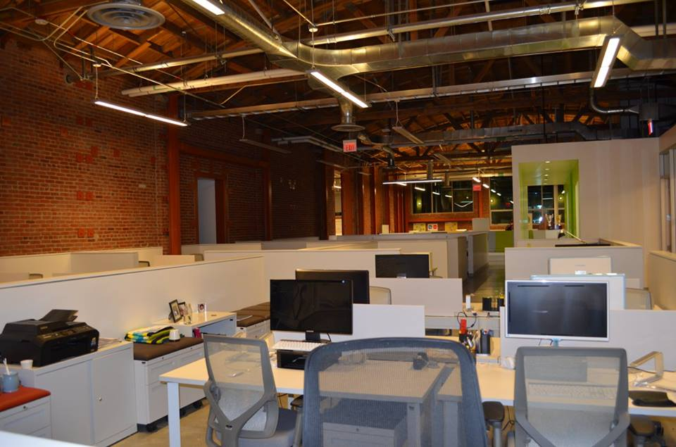 Workspace in the new La Kretz Innovation Campus, a clean technology business incubator.