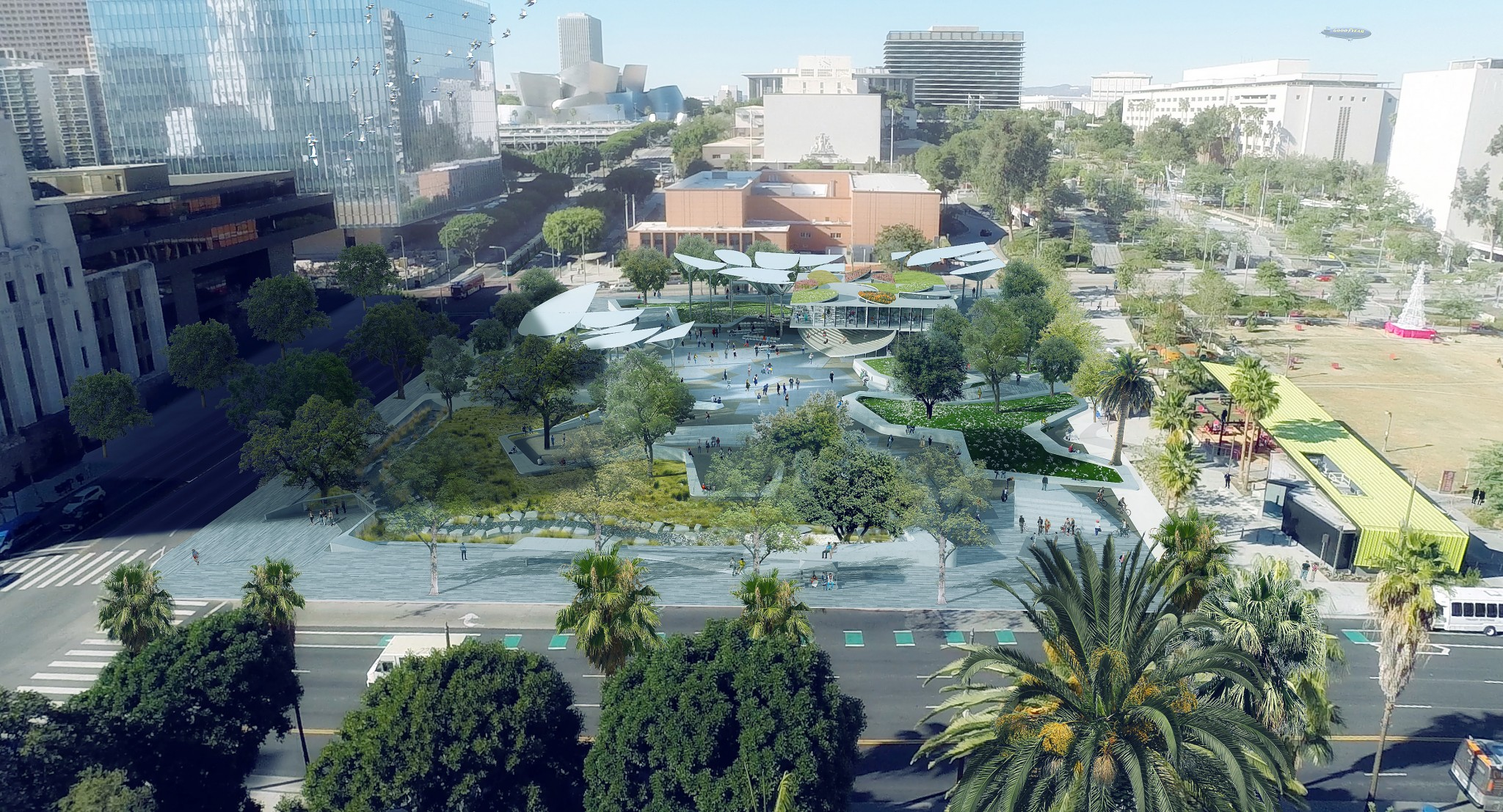 An aerial view of the proposed 2-acre FAB Park from City Hall. (Mia Lehrer & Associates)