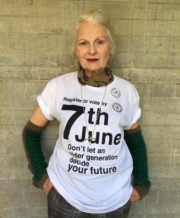 Vivienne Westwood takes a stand against a proposed Brexit. Photo courtesy of Vivienne Westwood's instagram.