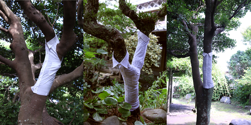%22The Role of White Shirts%22 Installation 2015 Art Islands in Tokyo, fabric:used men's shirts