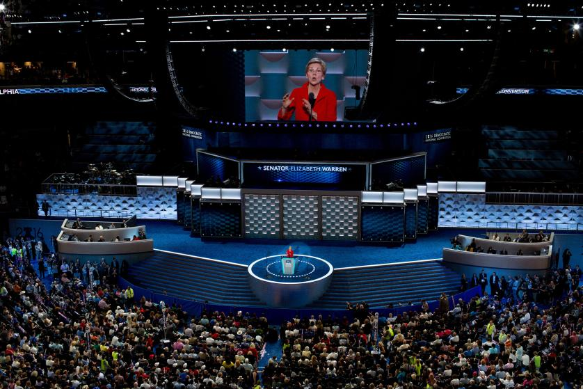 Speakers, among them, Michelle Obama, Elizabeth Warren and Bernie Sanders, addressed the crowdn the first night of the Democratic National Convention at the Wells Fargo Center on July 25, 2016 in Philadelphia. (Natalie Keyssar for TIME)